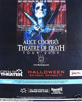 "Alice Cooper ""theatre Of Death Tour 2009"" San Diego Concert Poster"