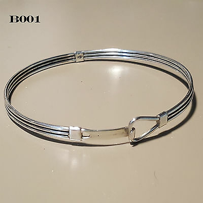 Silver Bangle Bracelet Love Knot Charm Unisex Sterling 925 (B001)