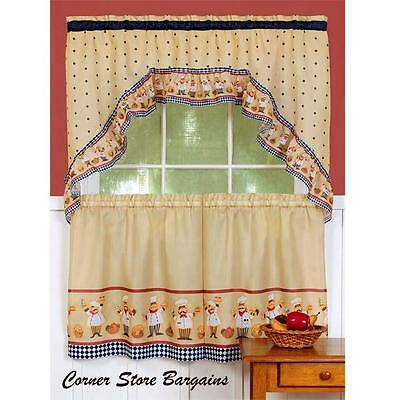 3 PC BISTRO FAT CHEF Kitchen Curtains Tier and SWAG Set NEW