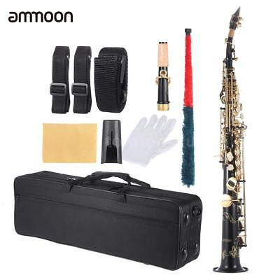 ammoon Brass Straight Soprano Sax Saxophone Bb B Flat Black+Care Kit+Free Ship