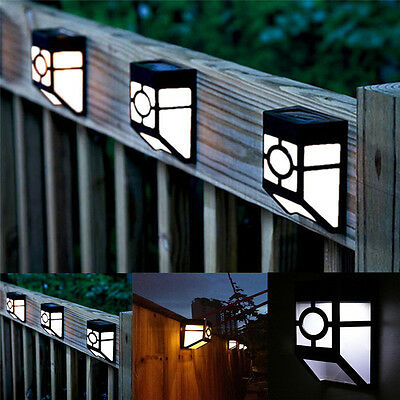 Solar Powered Outdoor Wall Mount LED Light Garden Path Landscape Fence Yard Lamp