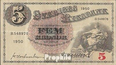 Sweden Pick-number: 33ag (1950) used (III) 1950 5 Kronor