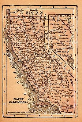 RARE Antique CALIFORNIA Map ORIGINAL Vintage 1885 MINIATURE Map  2954