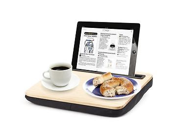 Kikkerland iBed Lap Desk Wooden iPad Tablet Cushioned Portable Tray and Stand
