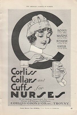 1919 Corliss Coon & Co Troy NY Ad: Corliss Collars and Cuffs for Nurses