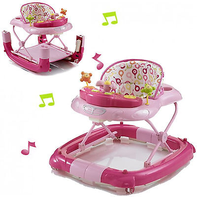New My Child Walk N Rock Musical Baby Walker / Rocker Pink Easily Converts 6M+