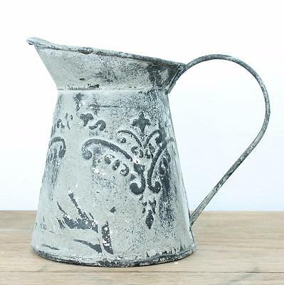 Boutique Vintage Watering Can Shabby Squat Grey Jug Mini Metal Pitcher Wedding