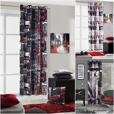 Modern Ready Made Voile Curtain Panel London Red Bus 140x250cm Eyelet Top