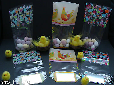 Easter Cello Block Bottom Treat Bags Easter Eggs, Chickens, Lovehearts & Chicks