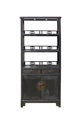 Chinese Distressed Brown Bookcase Display Cabinet cs1569