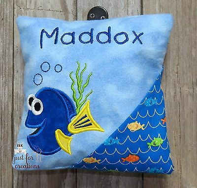 Boy Girl Personalized Tooth Fairy Pillow Inspired Blue Fish Design