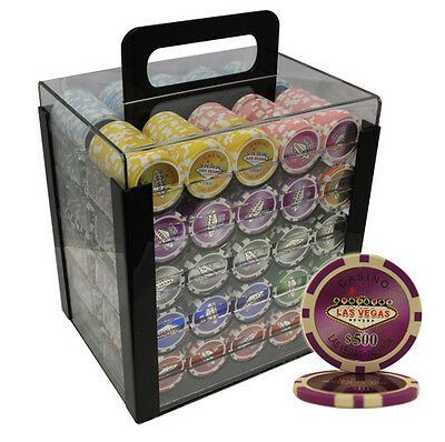1000pcs 14G LASER LAS VEGAS CLAY POKER CHIPS SET ACRYLIC CASE CUSTOM BUILD