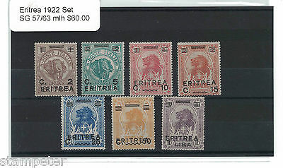 1922 Eritrea Set of 7 SG 57/63 MLH