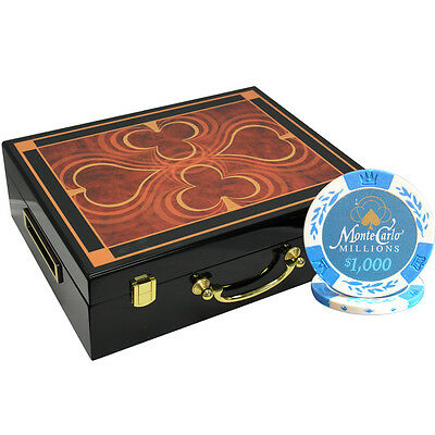 500pcs 14G MONTE CARLO MILLIONS CLAY POKER CHIPS SET HIGH GLOSS WOOD CASE