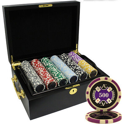 500pcs 14G ACE CASINO CLAY POKER CHIPS SET MAHOGANY CASE