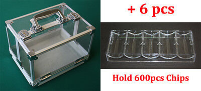 600ct CASINO POKER CHIPS CARRIER WITH ACRYLIC RACKS NEW