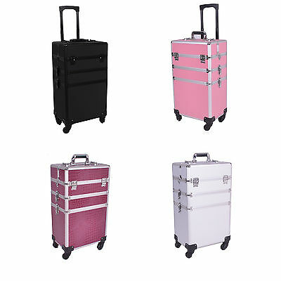 """35"""" 4 wheels 4 in 1 Rolling Makeup Case Cosmetic Train Cases Beauty Box"""