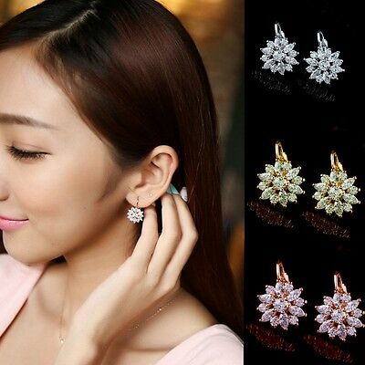 Women Fashion Jewelry Elegant Crystal Flower Rhinestone Ear Stud Earrings 1Pair
