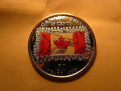 CANADA 2015 25 Cents Flag Coloured Coin Commemorating 50 Yrs Of Canadian Flag.