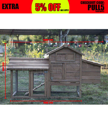 Large Brown Wooden Chicken Hen Coop Rabbit Hutch Guinea Pig Ferret Cage