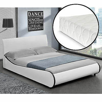 CORIUM Modern Upholstered bed+Mattress 180x200cm imitation leather White