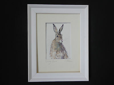 """/""""HARE AND PINK DAISIES/"""" A Beautiful Framed Watercolour Painting by Sandra Mason"""