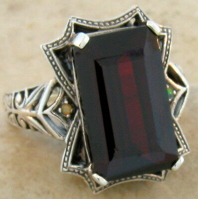 11 Ct. Sim Garnet Opal Antique Victorian Design .925 Sterling Silver Ring,  #241