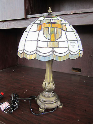 U Of TEXAS LONGHORNS Tiffany Stained Glass Table Lamp NEW IN BOX NCAA