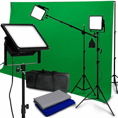 150W 3LED Photo Video Studio Lighting Boom Kit Chromarkey Photography Background