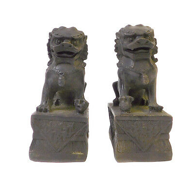 Chinese Pair Iron Black Metal Fengshui Foo Dog Statues cs1410