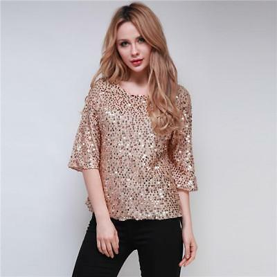 Womens Sequined Bling Shiny 3/4 Sleeve Evening Party Club Tops T-Shirt Blouse S