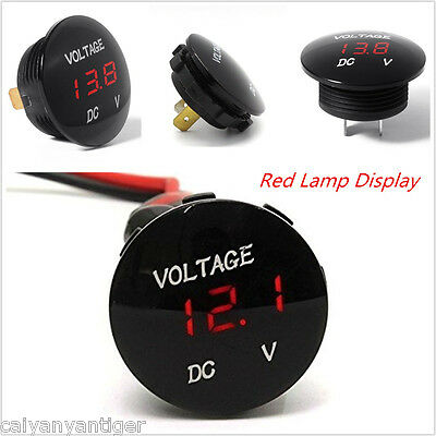 DC 12-24V Waterproof Car Motorcycle LED Voltage Meter Digital Display Voltmeter