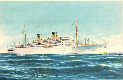 S.S.Italia,Twin Stack Ocean Liner,Postcard,Home Lines,Used,Paquebot,1956