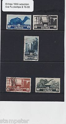 1933 Eritrea, Colonie Italiane, Selection of five fine used stamps,
