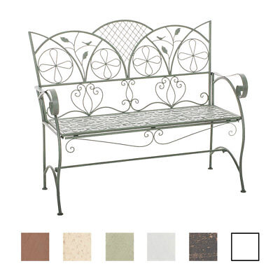 Garden Bench RIEF Iron Shabby Chic Metal Seat Antique Bronze White Brown NEW