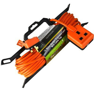 Masterplug 15m Garden Mains Lawn Power Tool Extension Lead Cable H Frame