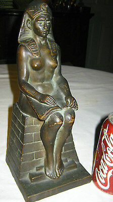 Antique Kbw Bronze Clad Nude Egyptian Bookend Art Deco Lady Statue Sculpture Usa