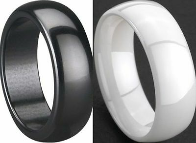 8MM White Black Polished Ceramic Ring Size 7-15 Wedding Engagement Cocktail Band