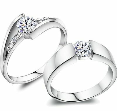 Size 5-12 Wedding Engagement Ring Set Pair 925 Sterling Silver Filled Solitaire