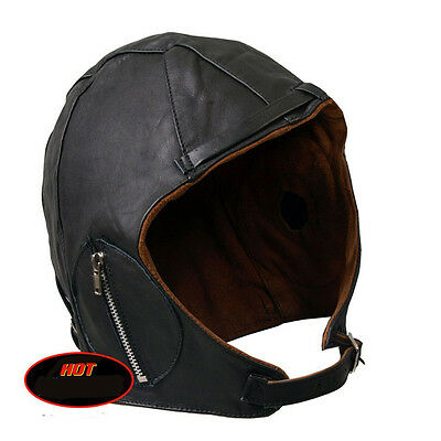 Leathers Suede Lined Leather Aviator Cap LEATHER Aviator Cap (L)