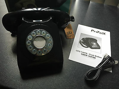 Brand New In Box GPO Black Style 746 Traditional Retro Push Button Telephone