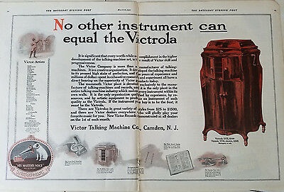 1920 Victor Talking Machine Co Victrola XVII Electric Original Two Page Ad