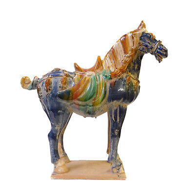 Chinese Blue Pottery Clay Ancient Style Horse Figure cs1436