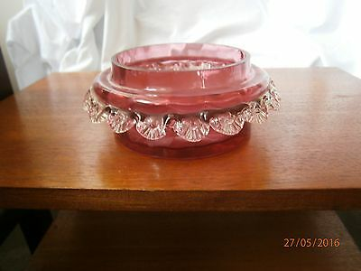 Unusual Antique Victorian Blown Cranberry Ruby Glass Bowl Dish Crystal Frill