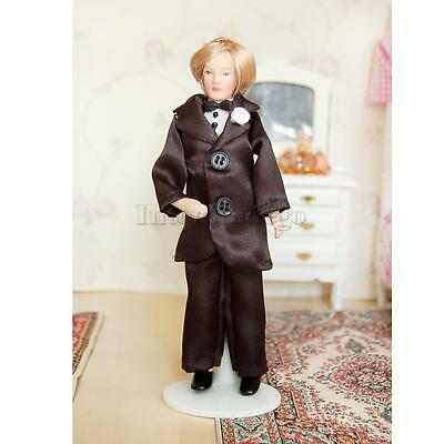 1/12 Scale Dollhouse Miniature Porcelain Doll Handsome Groom in Black Suit