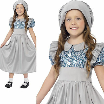 Girls Victorian School Girl Costume Child Book Week Fancy Dress Outfit Age 4-12