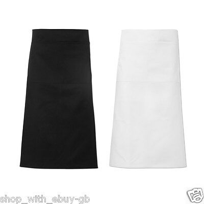 Half Size Plain Long Waiter Apron - Waitress Bar Bistro Cafe Waist Pocket Chef