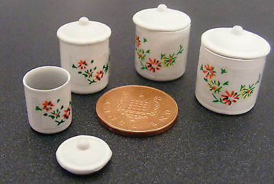 1:12 Scale Set Of 4 Storage Containers Dolls House Miniature Kitchen Accessory