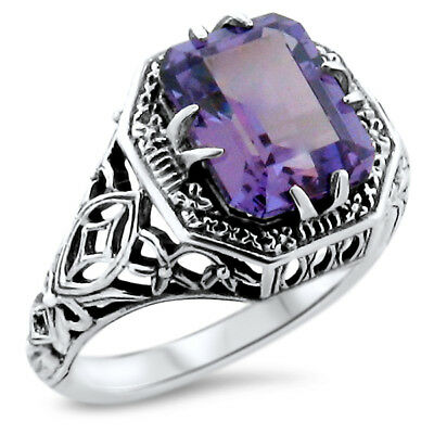 Antique Art Deco Style 925 Silver Color Changing Sim Alexandrite Ring Sz.9, #908