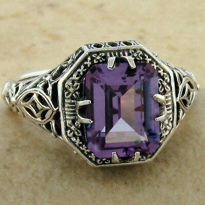 Antique Art Deco Style 925 Silver Color Changing Sim Alexandrite Ring Sz.5, #908